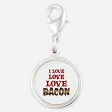 Love Love Bacon Silver Round Charm