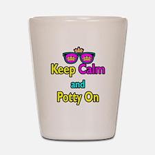 Crown Sunglasses Keep Calm And Potty On Shot Glass