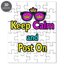 Crown Sunglasses Keep Calm And Post On Puzzle