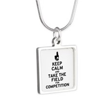 Keep Calm & Take the Field Silver Square Necklace