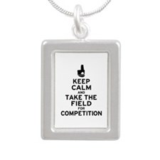 Keep Calm & Take the Field Silver Portrait Necklac