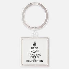 Keep Calm & Take the Field Square Keychain