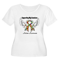 Supporting My Grandson Autism Plus Size T-Shirt
