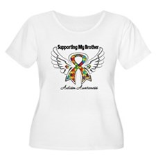Supporting My Brother Autism Plus Size T-Shirt