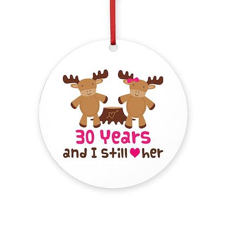 30th Anniversary Moose Ornament (Round)