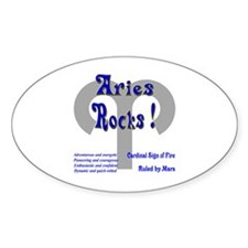 Aries Rocks ! Oval Decal