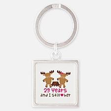29th Anniversary Moose Square Keychain