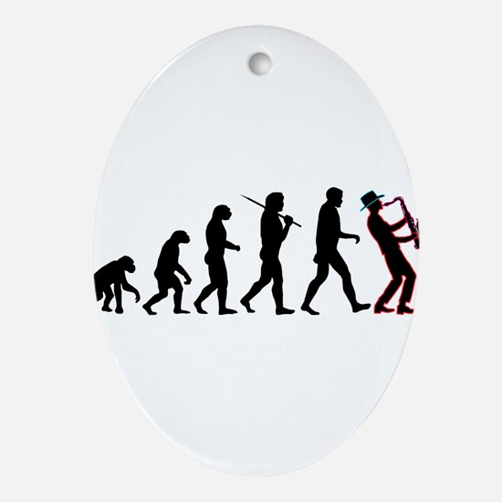 Saxophone Player Evolution Ornament (Oval)