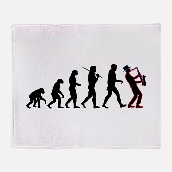 Saxophone Player Evolution Throw Blanket