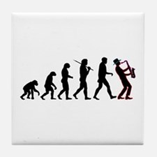 Saxophone Player Evolution Tile Coaster