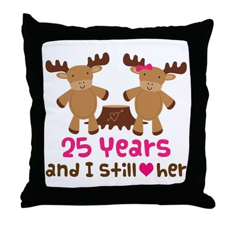 25th Anniversary Moose Throw Pillow