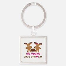 25th Anniversary Moose Square Keychain
