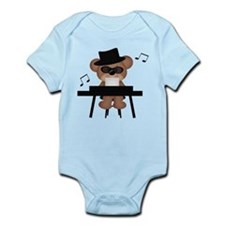 Piano playing bear Body Suit