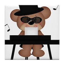 Piano playing bear Tile Coaster