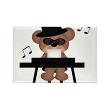 Piano playing bear Rectangle Magnet