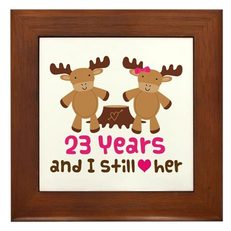 23rd Anniversary Moose Framed Tile