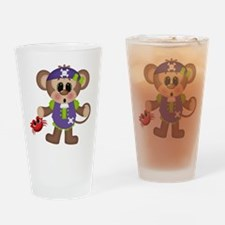 pirate monkey with crab Drinking Glass