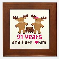 21st Anniversary Moose Framed Tile