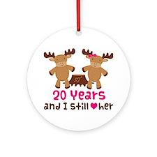 20th Anniversary Moose Ornament (Round)