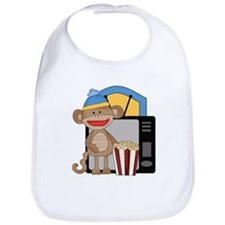 movie night sock monkey Bib