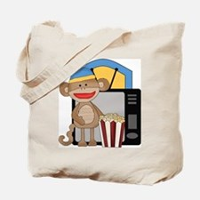 movie night sock monkey Tote Bag