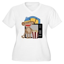 movie night sock monkey Plus Size T-Shirt