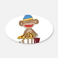 Cute Sock monkeys Oval Car Magnet