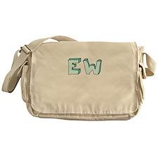 blue 'EW' Messenger Bag