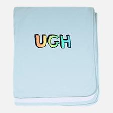 Rainbow Gradient 'UGH' baby blanket