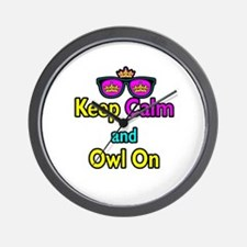 Crown Sunglasses Keep Calm And Owl On Wall Clock