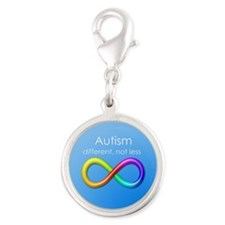 Autism. different, not less Silver Round Charm