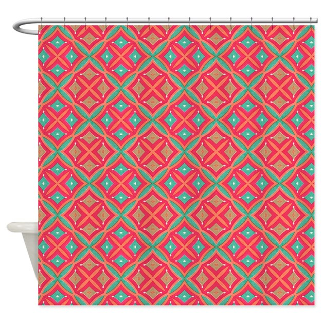 Pink Teal Geometric Pattern Shower Curtain By Pinkinkart