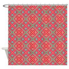 Pink Teal Geometric Pattern Shower Curtain