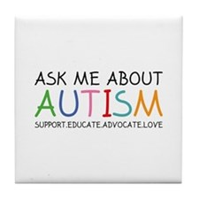 Ask Me About Autism Tile Coaster