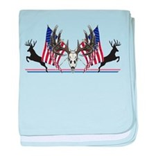 Patriotic Whitetail buck baby blanket