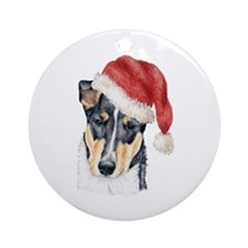 Christmas Collie, short-haired Ornament (Round)