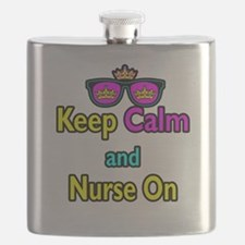 Crown Sunglasses Keep Calm And Nurse On Flask