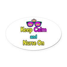 Crown Sunglasses Keep Calm And Nurse On Oval Car M