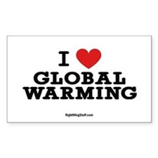 I Love Global Warming Oval Decal