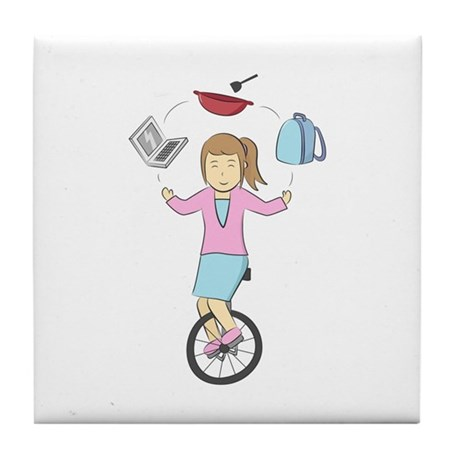 Modern Juggling mum on a Unicycle Tile Coaster