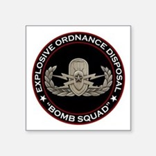 "EOD Senior ""Bomb Squad"" Square Sticker 3"" x 3"""
