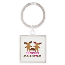 13th Anniversary Moose Square Keychain