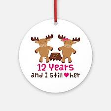 12th Anniversary Moose Ornament (Round)