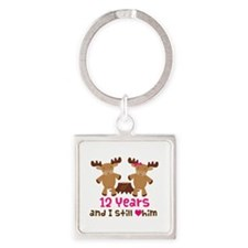 12th Anniversary Moose Square Keychain