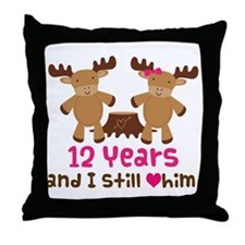 12th Anniversary Moose Throw Pillow