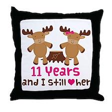 11th Anniversary Moose Throw Pillow