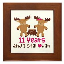 11th Anniversary Moose Framed Tile