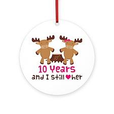 10th Anniversary Moose Ornament (Round)