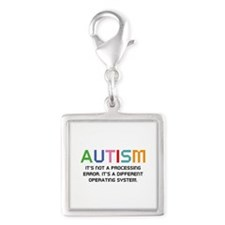 Autism Operating System Silver Square Charm