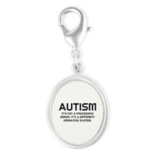 Autism Operating System Silver Oval Charm